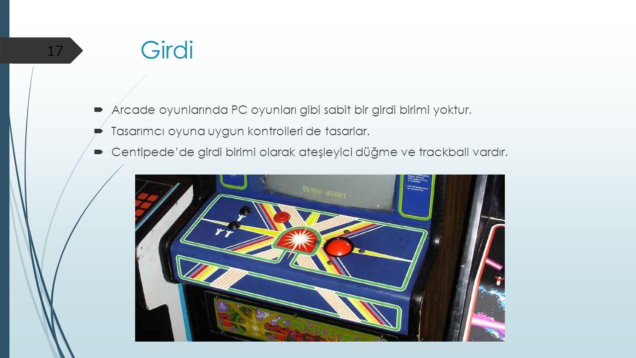 Girdi  Arcade oyunlarında PC oyunları gibi sabit bir girdi birimi yoktur.  Tasarımcı oyuna uygun kontrolleri de tasarlar.  Centipede'de girdi birim