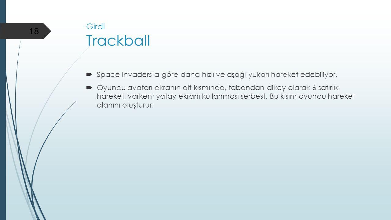 Girdi Trackball  Space Invaders'a göre daha hızlı ve aşağı yukarı hareket edebiliyor.  Oyuncu avatarı ekranın alt kısmında, tabandan dikey olarak 6
