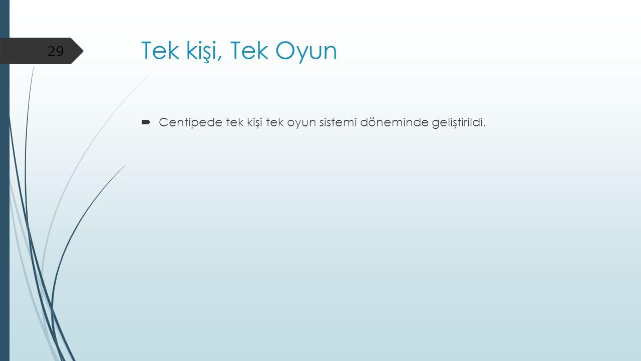 Tek kişi, Tek Oyun  Centipede tek kişi tek oyun sistemi döneminde geliştirildi. 29
