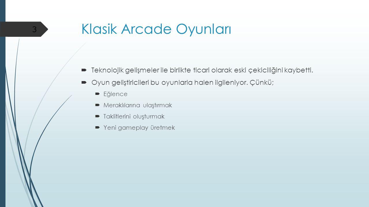 Klasik Arcade Oyunları  Teknolojik gelişmeler ile birlikte ticari olarak eski çekiciliğini kaybetti.  Oyun geliştiricileri bu oyunlarla halen ilgile