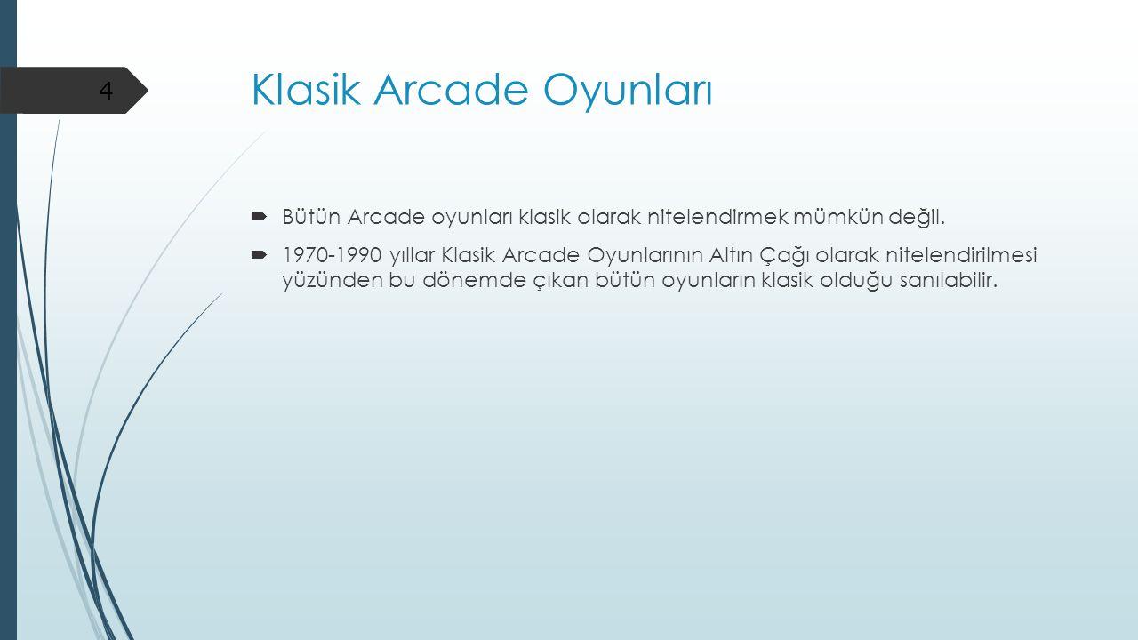 Klasik Arcade Oyunları  Oyunların benzer özellikleri taşıyor.