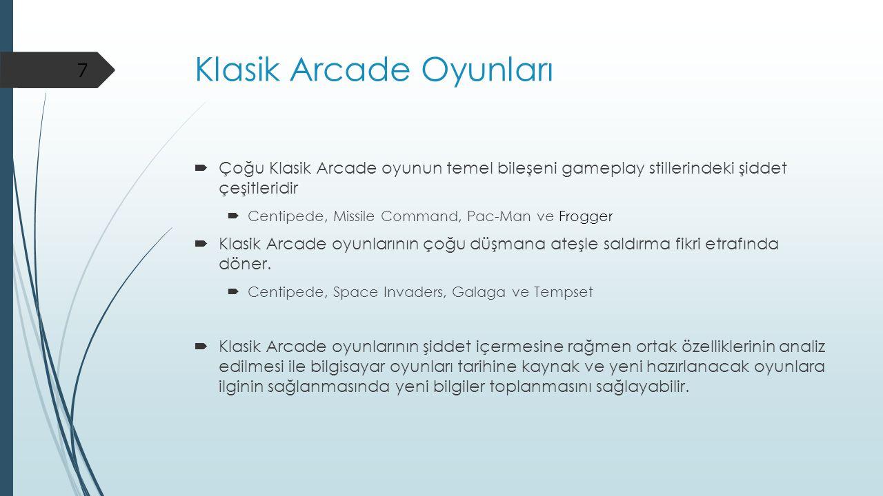 Klasik Arcade Oyunları  Çoğu Klasik Arcade oyunun temel bileşeni gameplay stillerindeki şiddet çeşitleridir  Centipede, Missile Command, Pac-Man ve