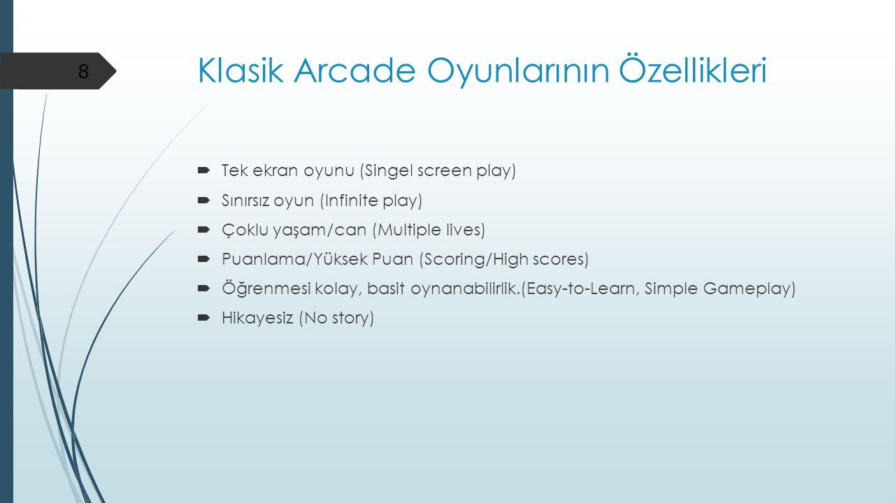 Klasik Arcade Oyunlarının Özellikleri  Tek ekran oyunu (Singel screen play)  Sınırsız oyun (Infinite play)  Çoklu yaşam/can (Multiple lives)  Puan