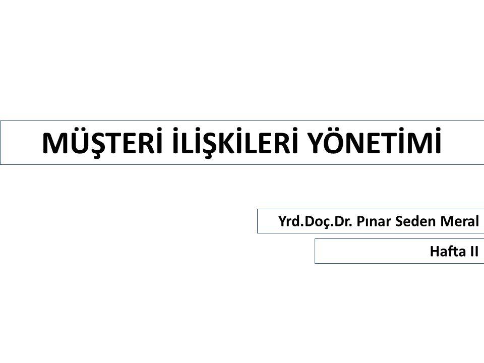 MÜŞTERİ İLİŞKİLERİ YÖNETİMİ Yrd.Doç.Dr. Pınar Seden Meral Hafta II