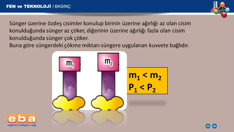 m 1 < m 2 P 1 < P 2 FEN ve TEKNOLOJİ / BASINÇ 4 Sünger üzerine özdeş cisimler konulup birinin üzerine ağırlığı az olan cisim konulduğunda sünger az çö