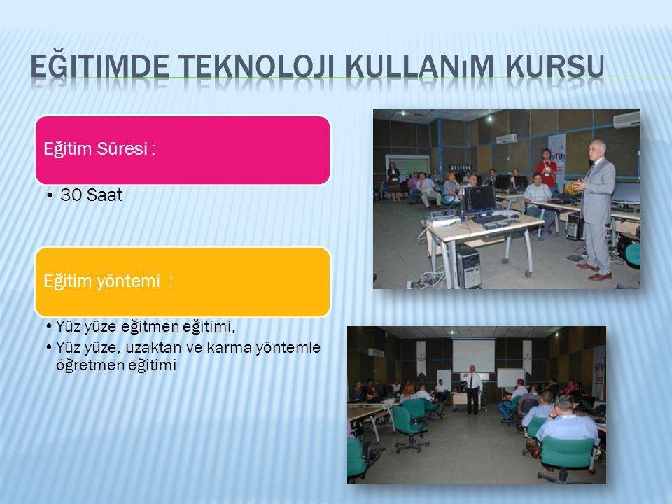 Eğitimde Teknoloji Kullanımı Kursu Konu BaşlıklarıKonu Süre (saat) A Eğitimde FATİH Projesi1 B BT Ekipmanları Kurma ve Kullanma5 C Eğitimde Teknoloji Kullanımı ve Temel Kavramlar2 D Öğretim Sürecinde Materyal Kullanımı2 E Materyal Arama, Bulma ve Seçme5 F Öğretim Materyali Tasarlama ve Materyalin Üzerinde Değişiklik Yapma 7 G Etkileşimli Tahta Kullanılarak Ders Sunumu 7 H Materyalin Etkililiğinin ve Verimliliğinin Öğretmen Tarafından Değerlendirilmesi 1 Toplam 30