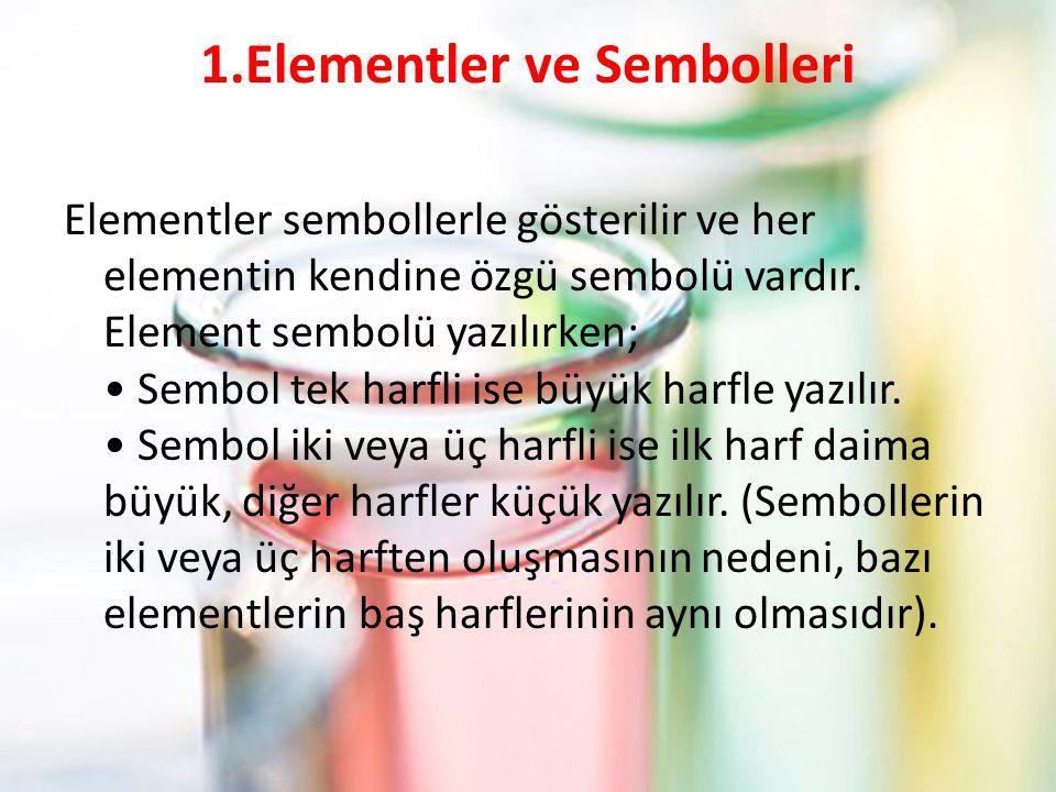 1.Elementler ve Sembolleri Elementler sembollerle gösterilir ve her elementin kendine özgü sembolü vardır.