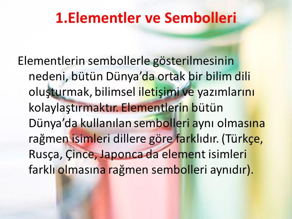 1.Elementler ve Sembolleri Elementlerin sembollerle gösterilmesinin nedeni, bütün Dünya'da ortak bir bilim dili oluşturmak, bilimsel iletişimi ve yazı