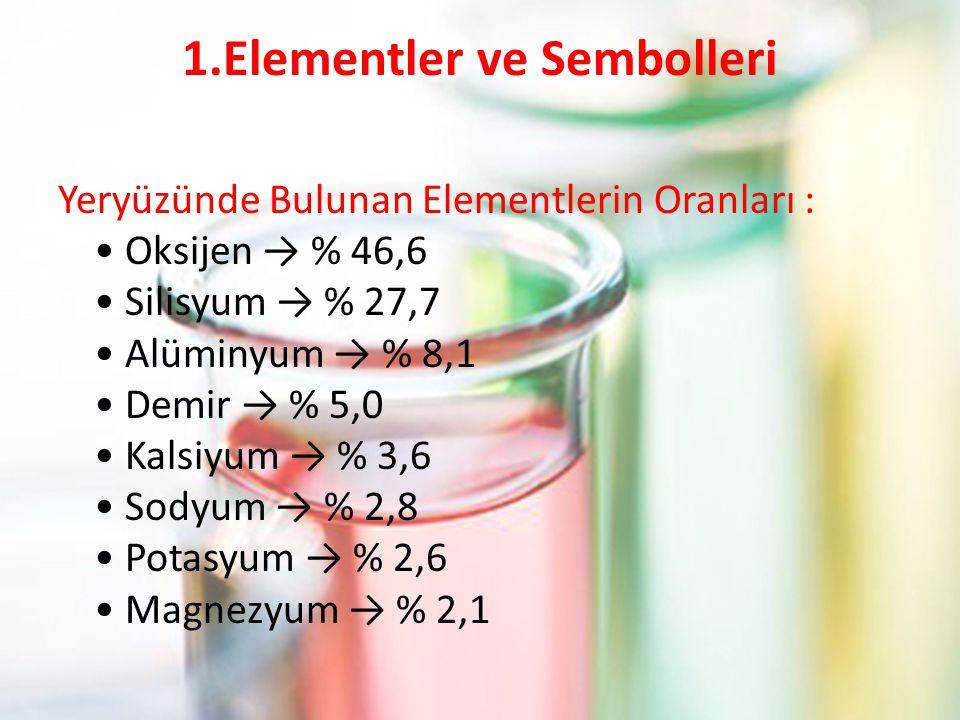 1.Elementler ve Sembolleri Yeryüzünde Bulunan Elementlerin Oranları : Oksijen → % 46,6 Silisyum → % 27,7 Alüminyum → % 8,1 Demir → % 5,0 Kalsiyum → %
