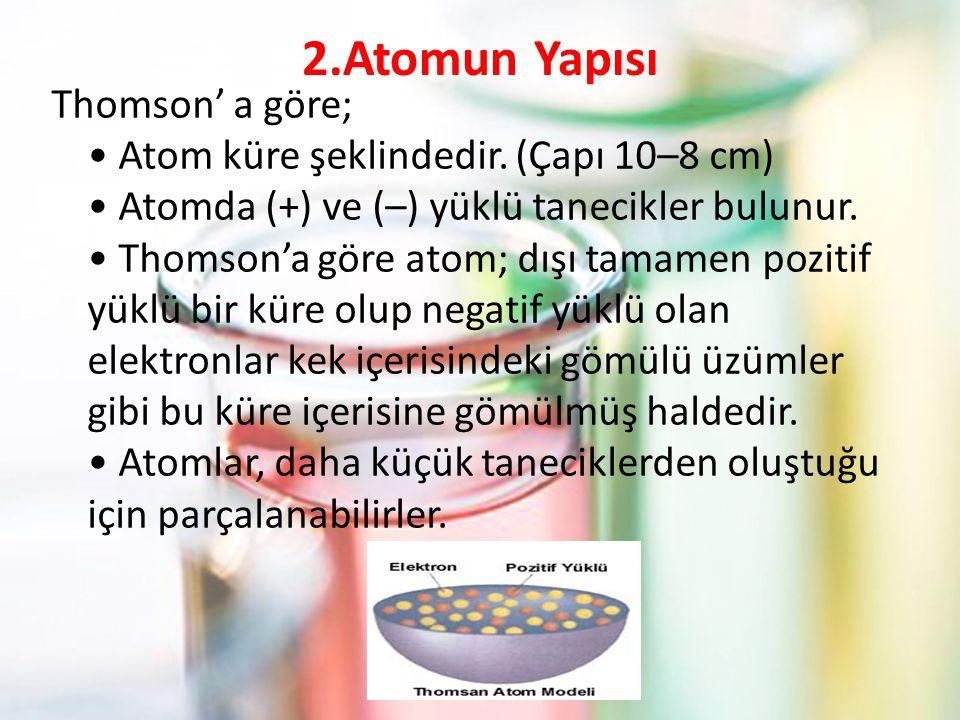 2.Atomun Yapısı Thomson' a göre; Atom küre şeklindedir.