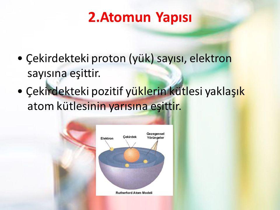 2.Atomun Yapısı Çekirdekteki proton (yük) sayısı, elektron sayısına eşittir.