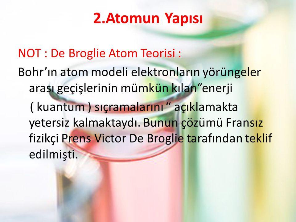 2.Atomun Yapısı NOT : De Broglie Atom Teorisi : Bohr'ın atom modeli elektronların yörüngeler arası geçişlerinin mümkün kılan enerji ( kuantum ) sıçramalarını açıklamakta yetersiz kalmaktaydı.