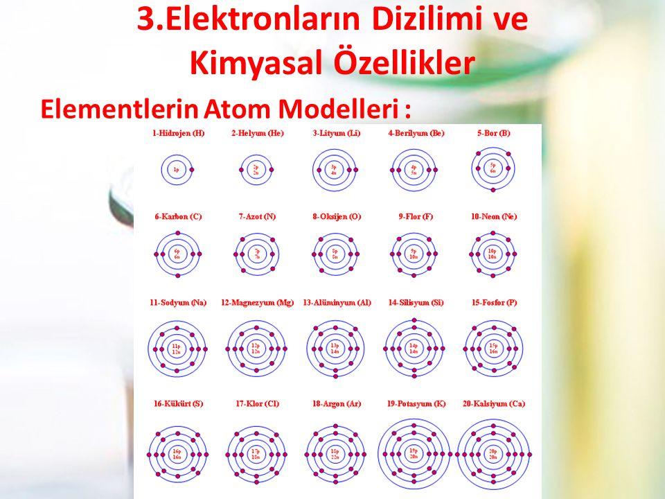 3.Elektronların Dizilimi ve Kimyasal Özellikler Elementlerin Atom Modelleri :