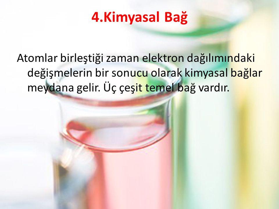 4.Kimyasal Bağ Atomlar birleştiği zaman elektron dağılımındaki değişmelerin bir sonucu olarak kimyasal bağlar meydana gelir. Üç çeşit temel bağ vardır