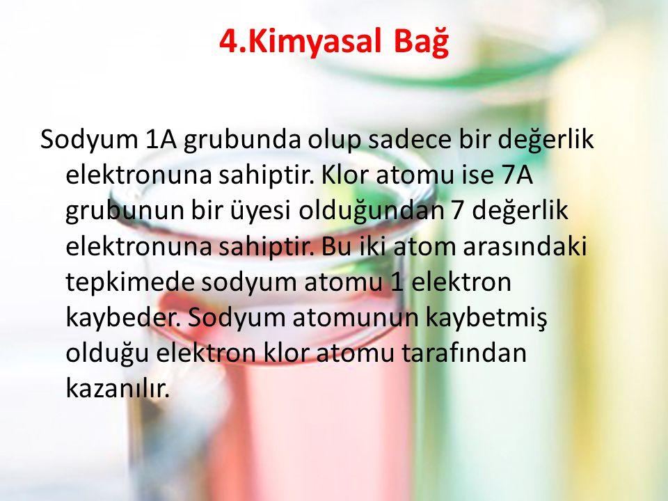 4.Kimyasal Bağ Sodyum 1A grubunda olup sadece bir değerlik elektronuna sahiptir. Klor atomu ise 7A grubunun bir üyesi olduğundan 7 değerlik elektronun