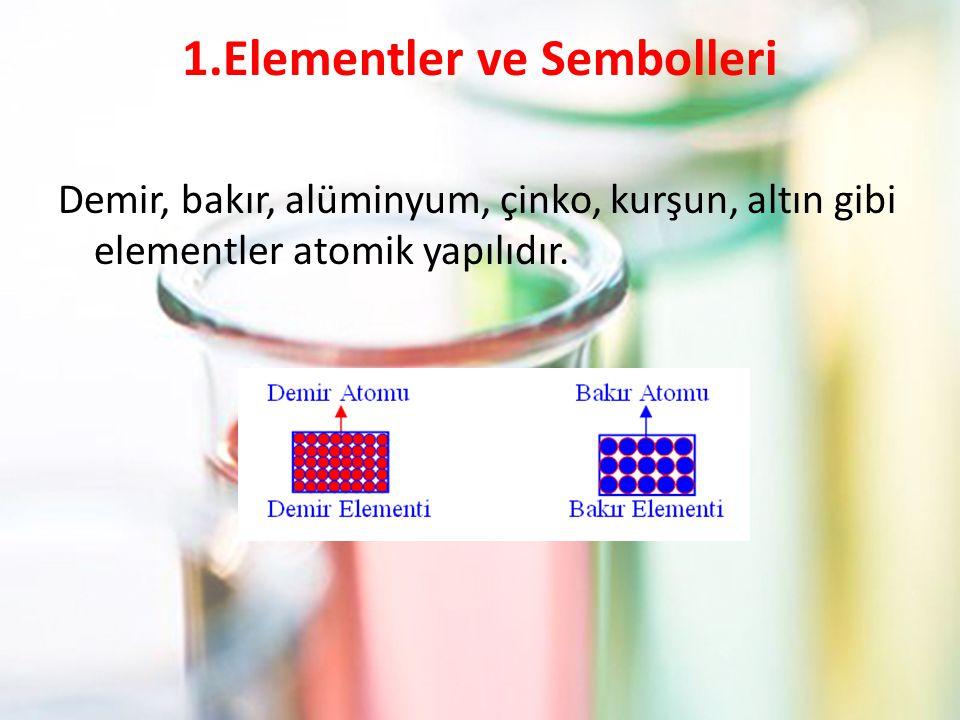 1.Elementler ve Sembolleri Demir, bakır, alüminyum, çinko, kurşun, altın gibi elementler atomik yapılıdır.