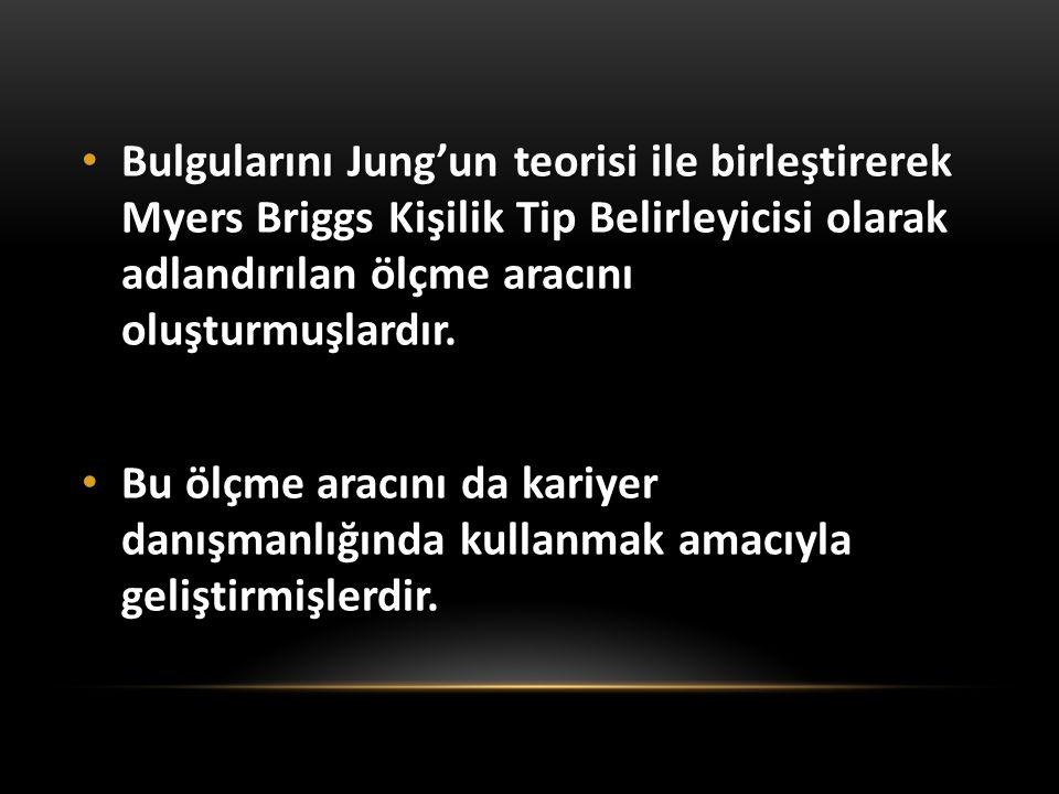 Bulgularını Jung'un teorisi ile birleştirerek Myers Briggs Kişilik Tip Belirleyicisi olarak adlandırılan ölçme aracını oluşturmuşlardır. Bulgularını J