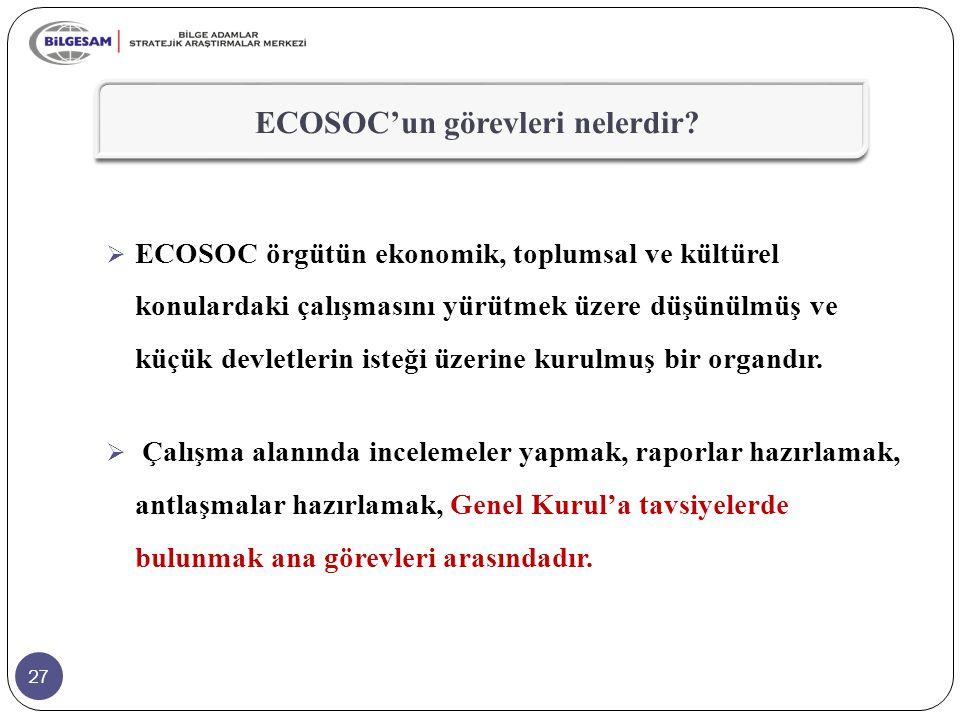 27 ECOSOC'un görevleri nelerdir?  ECOSOC örgütün ekonomik, toplumsal ve kültürel konulardaki çalışmasını yürütmek üzere düşünülmüş ve küçük devletler