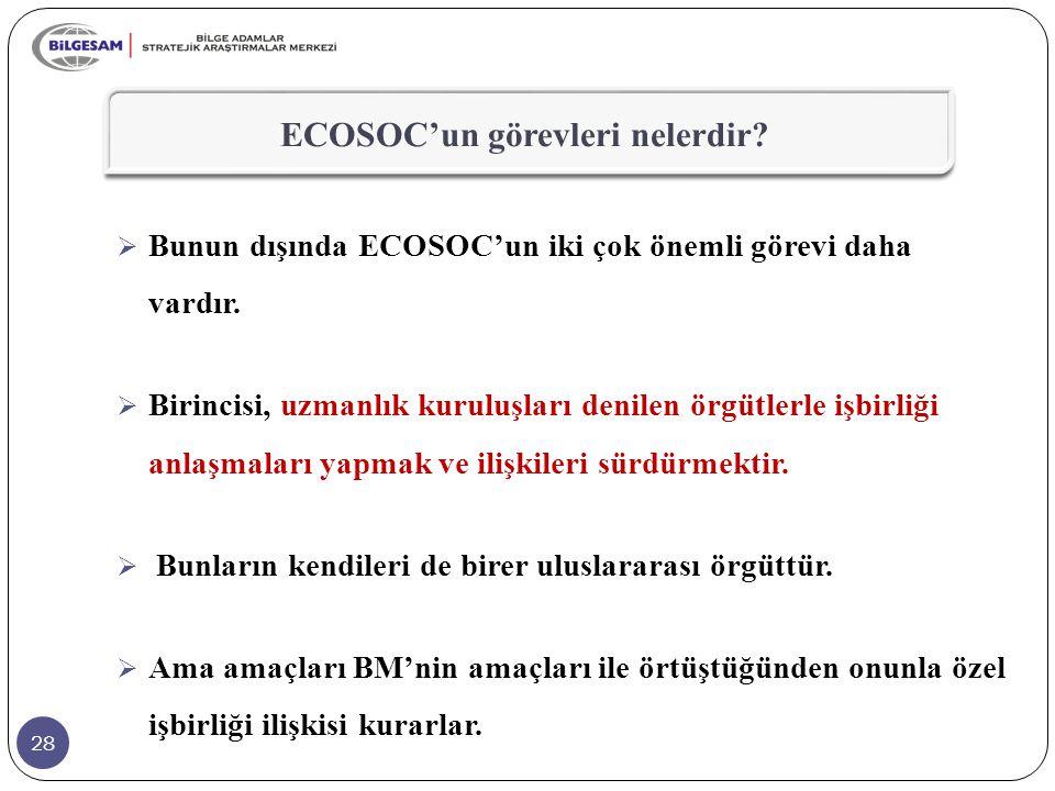28 ECOSOC'un görevleri nelerdir?  Bunun dışında ECOSOC'un iki çok önemli görevi daha vardır.  Birincisi, uzmanlık kuruluşları denilen örgütlerle işb