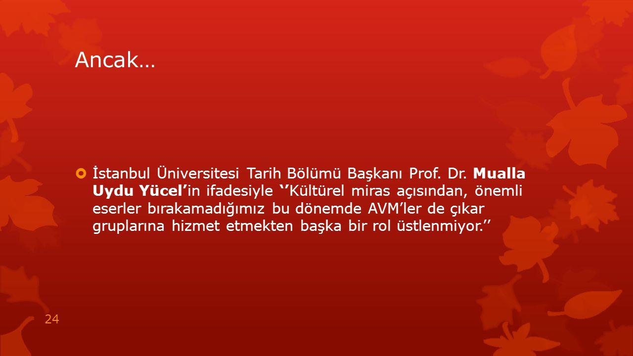Ancak…  İstanbul Üniversitesi Tarih Bölümü Başkanı Prof. Dr. Mualla Uydu Yücel'in ifadesiyle ''Kültürel miras açısından, önemli eserler bırakamadığım