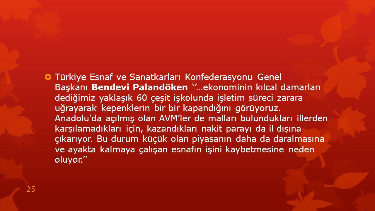  Türkiye Esnaf ve Sanatkarları Konfederasyonu Genel Başkanı Bendevi Palandöken ''…ekonominin kılcal damarları dediğimiz yaklaşık 60 çeşit işkolunda i