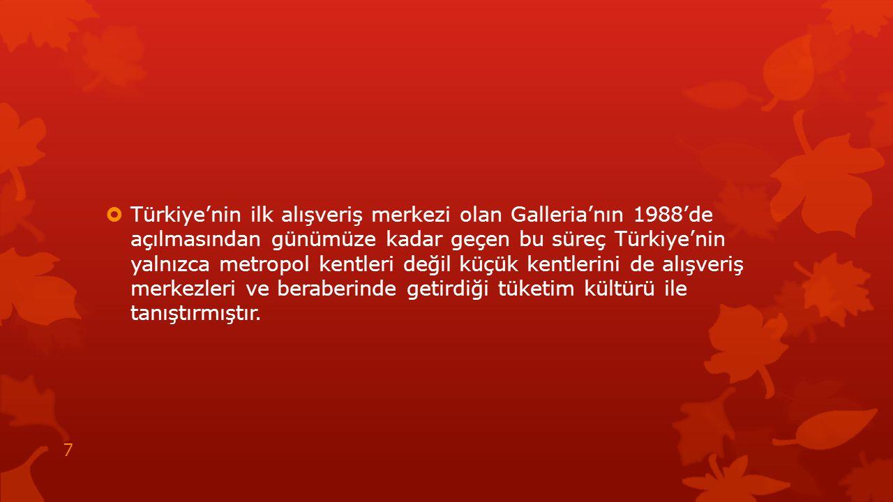  Türkiye'nin ilk alışveriş merkezi olan Galleria'nın 1988'de açılmasından günümüze kadar geçen bu süreç Türkiye'nin yalnızca metropol kentleri değil