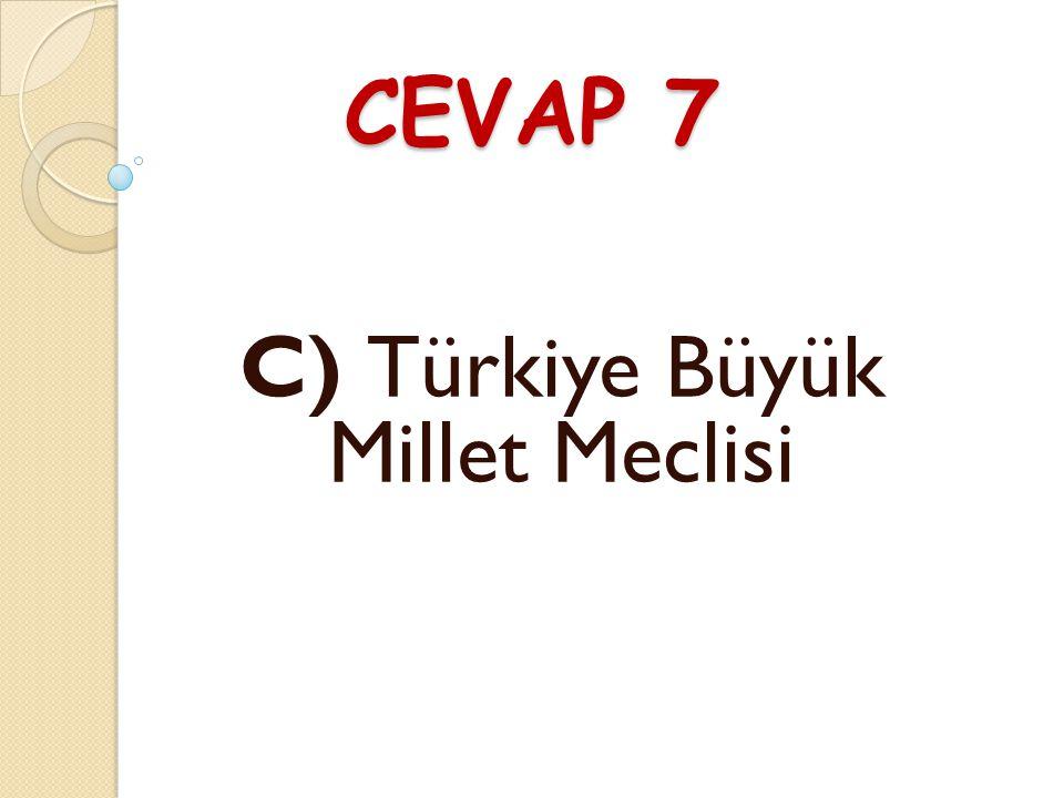 SORU 7 TBMM'nin açılımı nedir? A) Türkiye Birleşmiş Milletler Meclisi B) Türkiye Büyük Mebuslar Meclisi C) Türkiye Büyük Millet Meclisi