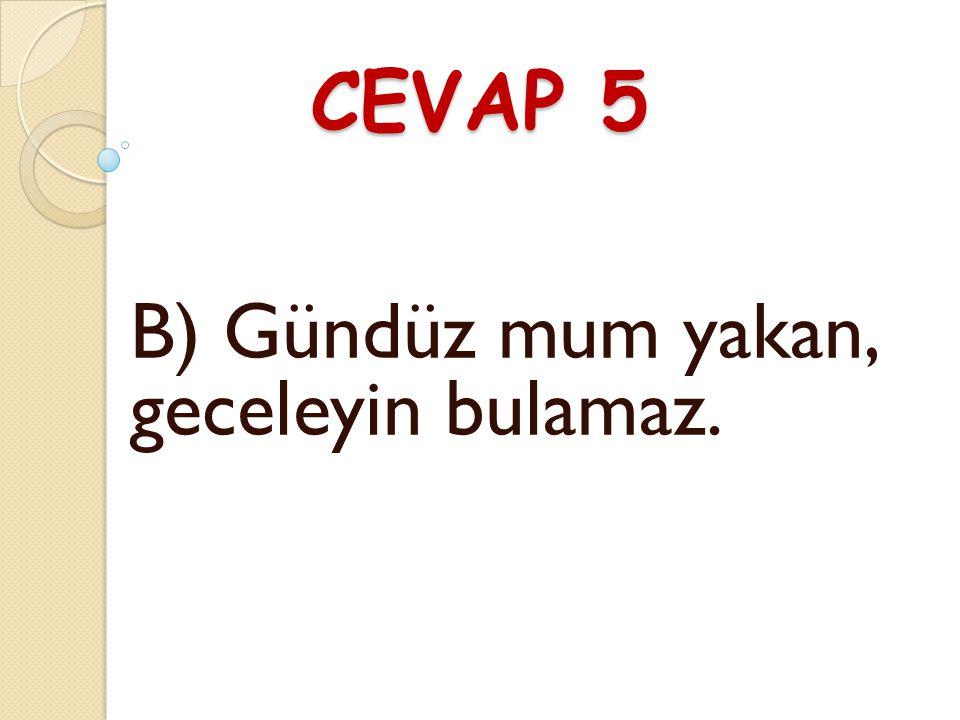 CEVAP 5 B) Gündüz mum yakan, geceleyin bulamaz.