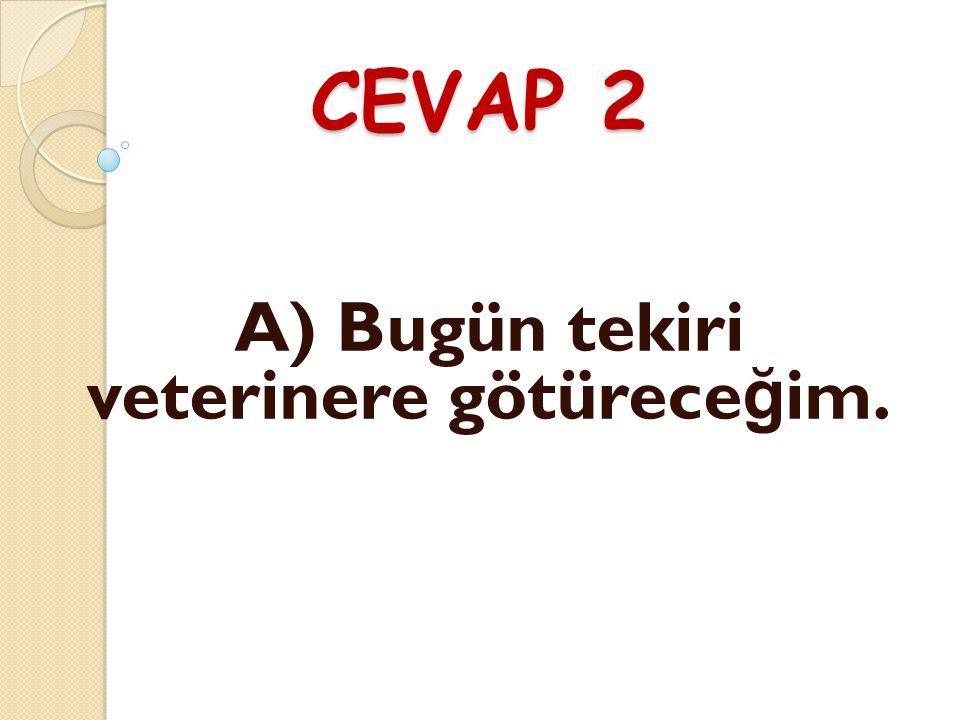 CEVAP 2 A) Bugün tekiri veterinere götürece ğ im.