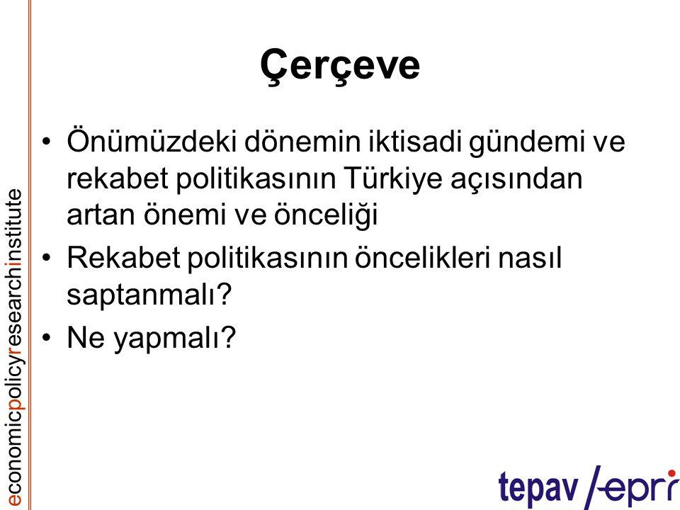 e conomic p olicy r esearch i nstitute Çerçeve Önümüzdeki dönemin iktisadi gündemi ve rekabet politikasının Türkiye açısından artan önemi ve önceliği