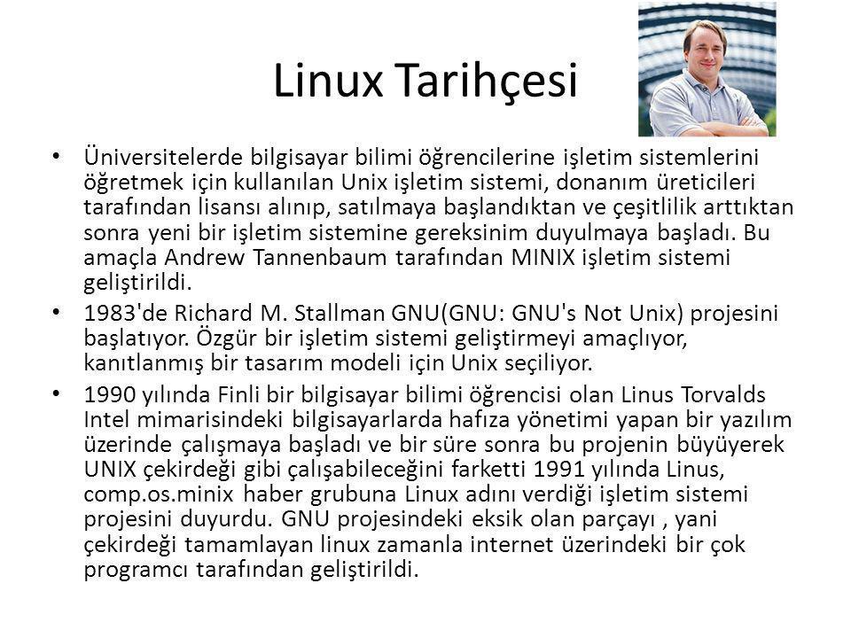 Linux Tarihçesi Üniversitelerde bilgisayar bilimi öğrencilerine işletim sistemlerini öğretmek için kullanılan Unix işletim sistemi, donanım üreticileri tarafından lisansı alınıp, satılmaya başlandıktan ve çeşitlilik arttıktan sonra yeni bir işletim sistemine gereksinim duyulmaya başladı.