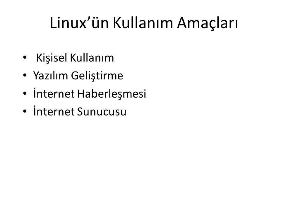 Linux'ün Kullanım Amaçları Kişisel Kullanım Yazılım Geliştirme İnternet Haberleşmesi İnternet Sunucusu
