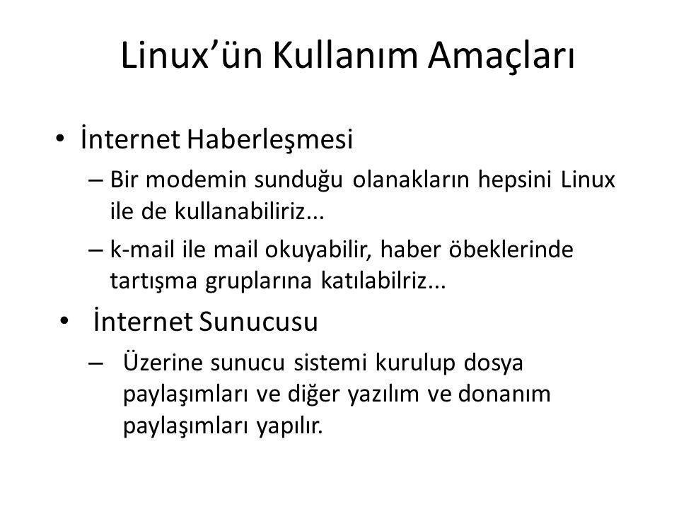 Linux'ün Kullanım Amaçları İnternet Haberleşmesi – Bir modemin sunduğu olanakların hepsini Linux ile de kullanabiliriz... – k-mail ile mail okuyabilir