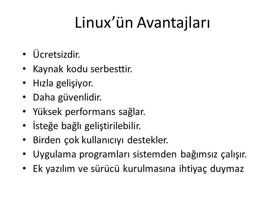 Linux'ün Avantajları Ücretsizdir. Kaynak kodu serbesttir. Hızla gelişiyor. Daha güvenlidir. Yüksek performans sağlar. İsteğe bağlı geliştirilebilir. B