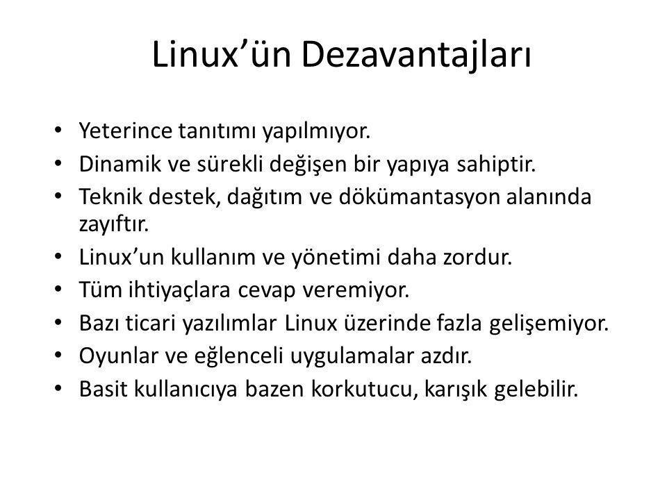 Linux'ün Dezavantajları Yeterince tanıtımı yapılmıyor. Dinamik ve sürekli değişen bir yapıya sahiptir. Teknik destek, dağıtım ve dökümantasyon alanınd