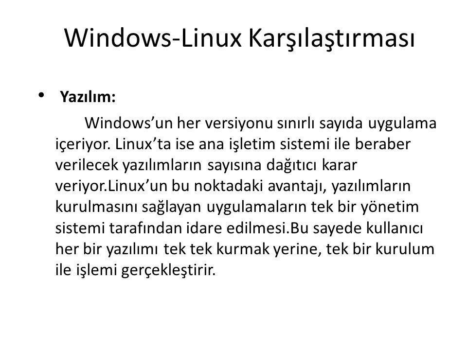 Windows-Linux Karşılaştırması Yazılım: Windows'un her versiyonu sınırlı sayıda uygulama içeriyor. Linux'ta ise ana işletim sistemi ile beraber verilec
