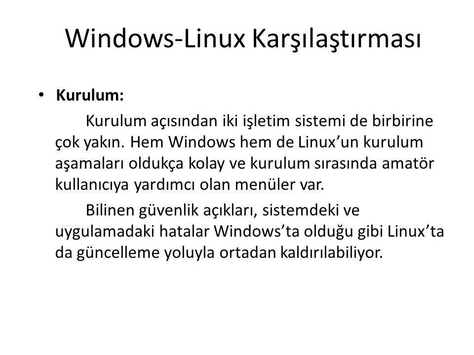 Windows-Linux Karşılaştırması Kurulum: Kurulum açısından iki işletim sistemi de birbirine çok yakın. Hem Windows hem de Linux'un kurulum aşamaları old