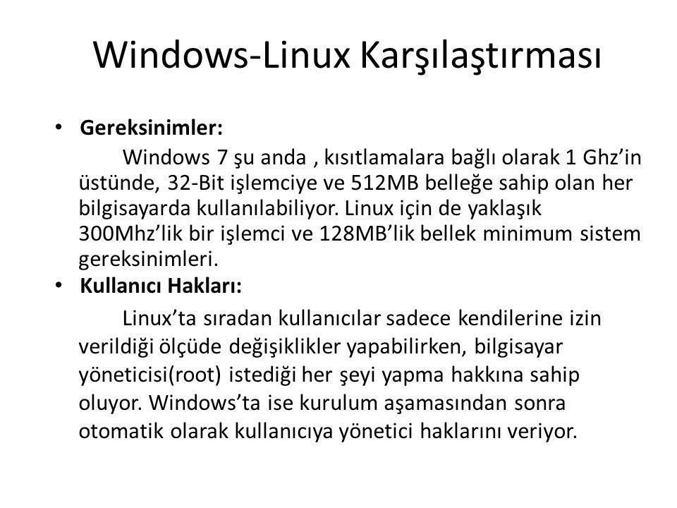 Windows-Linux Karşılaştırması Gereksinimler: Windows 7 şu anda, kısıtlamalara bağlı olarak 1 Ghz'in üstünde, 32-Bit işlemciye ve 512MB belleğe sahip olan her bilgisayarda kullanılabiliyor.