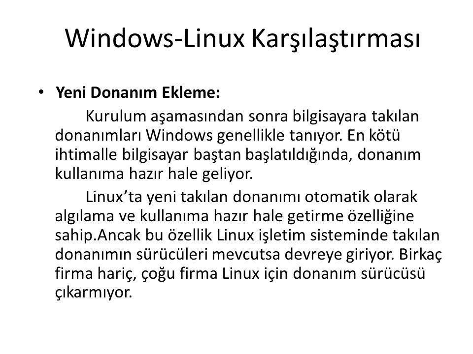 Windows-Linux Karşılaştırması Yeni Donanım Ekleme: Kurulum aşamasından sonra bilgisayara takılan donanımları Windows genellikle tanıyor. En kötü ihtim