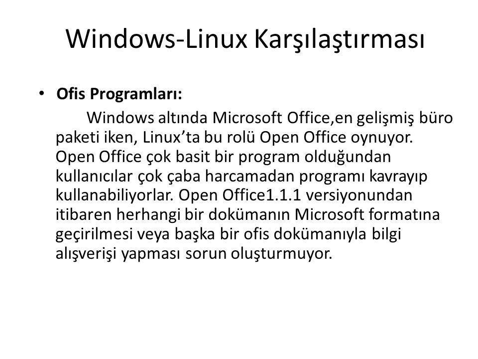 Windows-Linux Karşılaştırması Ofis Programları: Windows altında Microsoft Office,en gelişmiş büro paketi iken, Linux'ta bu rolü Open Office oynuyor.