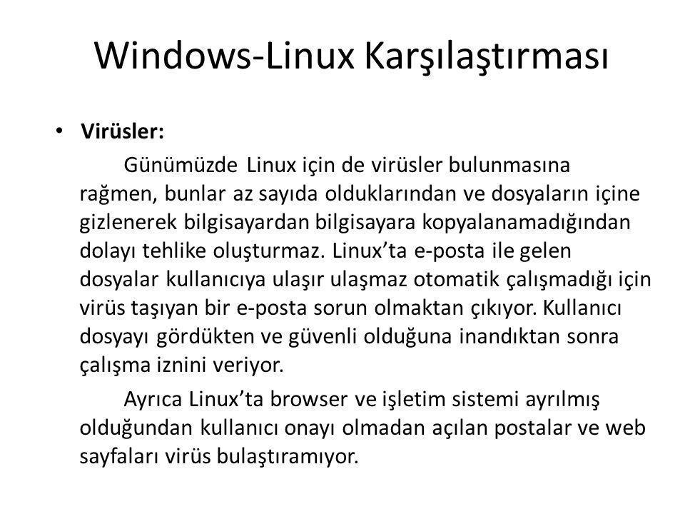 Windows-Linux Karşılaştırması Virüsler: Günümüzde Linux için de virüsler bulunmasına rağmen, bunlar az sayıda olduklarından ve dosyaların içine gizlenerek bilgisayardan bilgisayara kopyalanamadığından dolayı tehlike oluşturmaz.