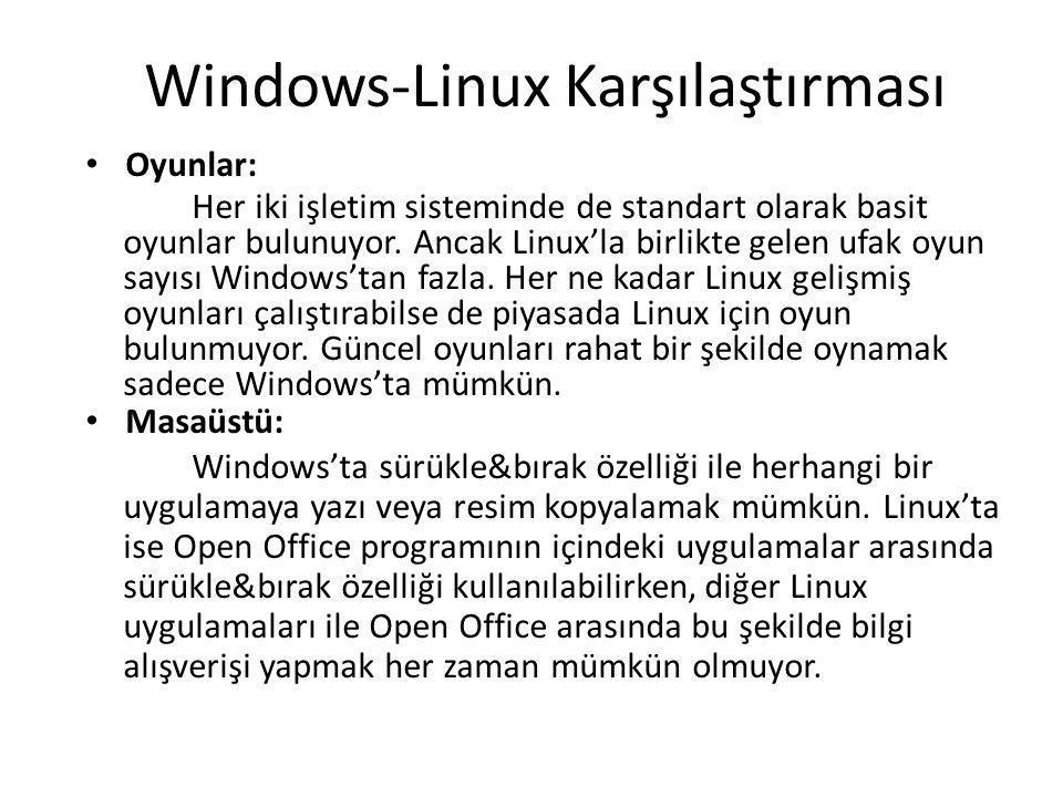 Windows-Linux Karşılaştırması Oyunlar: Her iki işletim sisteminde de standart olarak basit oyunlar bulunuyor. Ancak Linux'la birlikte gelen ufak oyun
