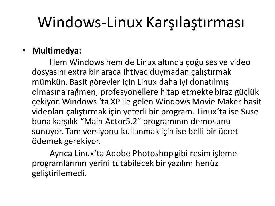 Windows-Linux Karşılaştırması Multimedya: Hem Windows hem de Linux altında çoğu ses ve video dosyasını extra bir araca ihtiyaç duymadan çalıştırmak mümkün.