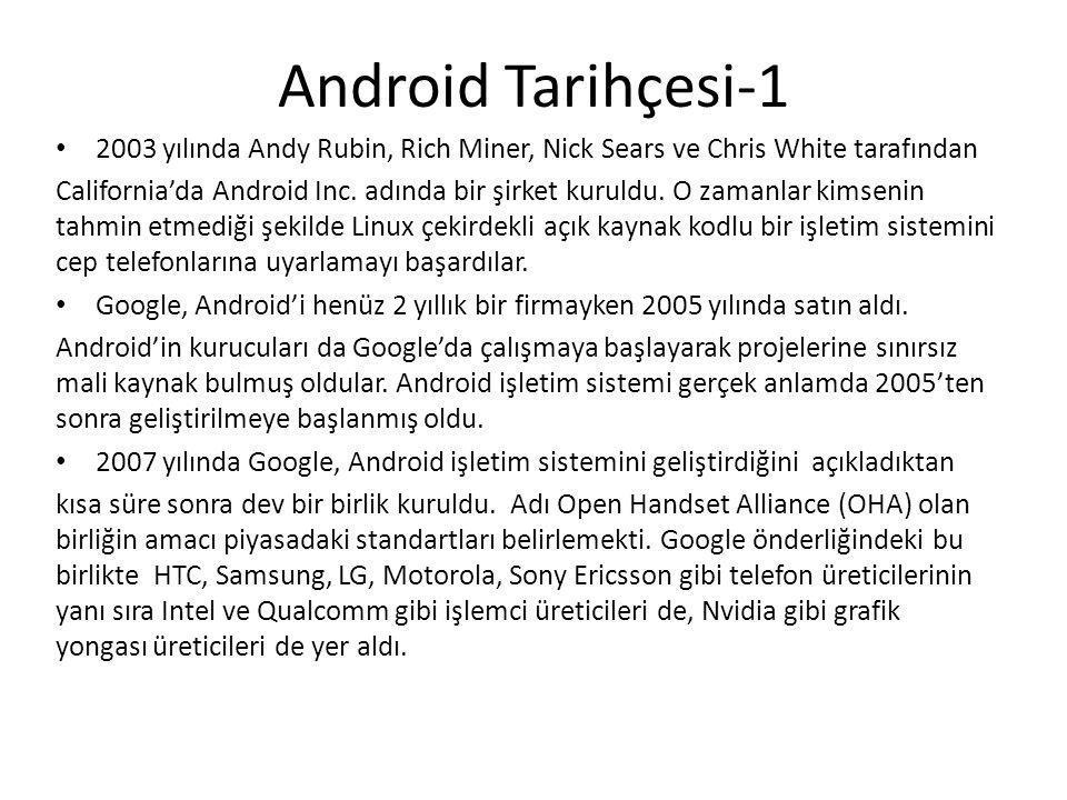 Android Tarihçesi-1 2003 yılında Andy Rubin, Rich Miner, Nick Sears ve Chris White tarafından California'da Android Inc. adında bir şirket kuruldu. O