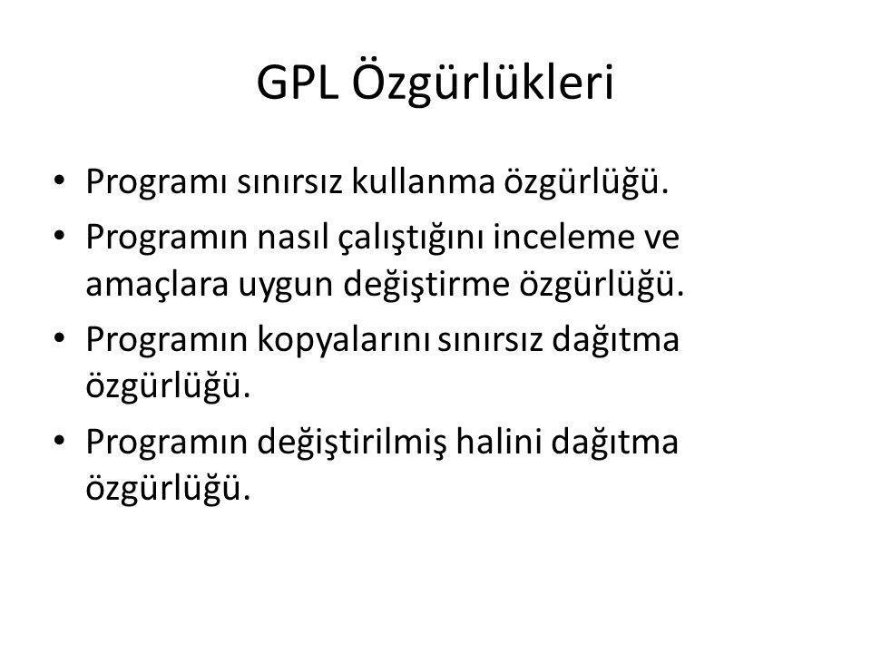 GPL Özgürlükleri Programı sınırsız kullanma özgürlüğü. Programın nasıl çalıştığını inceleme ve amaçlara uygun değiştirme özgürlüğü. Programın kopyalar