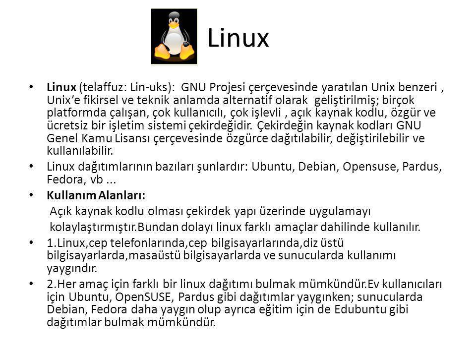 Linux Linux (telaffuz: Lin-uks): GNU Projesi çerçevesinde yaratılan Unix benzeri, Unix'e fikirsel ve teknik anlamda alternatif olarak geliştirilmiş; birçok platformda çalışan, çok kullanıcılı, çok işlevli, açık kaynak kodlu, özgür ve ücretsiz bir işletim sistemi çekirdeğidir.