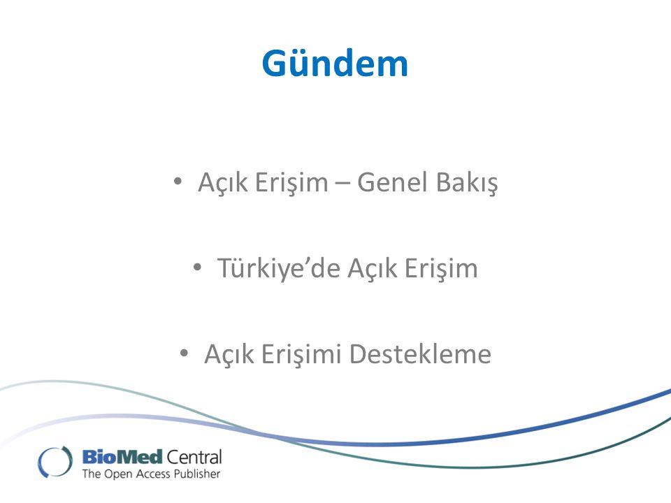 Gündem Açık Erişim – Genel Bakış Türkiye'de Açık Erişim Açık Erişimi Destekleme