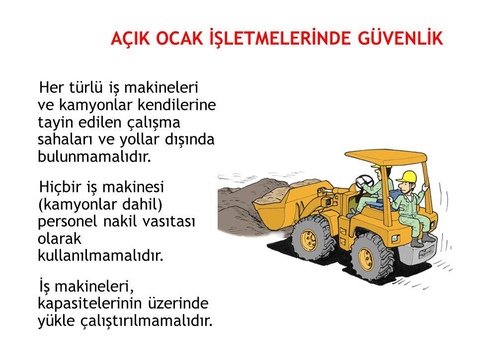 Her türlü iş makineleri ve kamyonlar kendilerine tayin edilen çalışma sahaları ve yollar dışında bulunmamalıdır. Hiçbir iş makinesi (kamyonlar dahil)