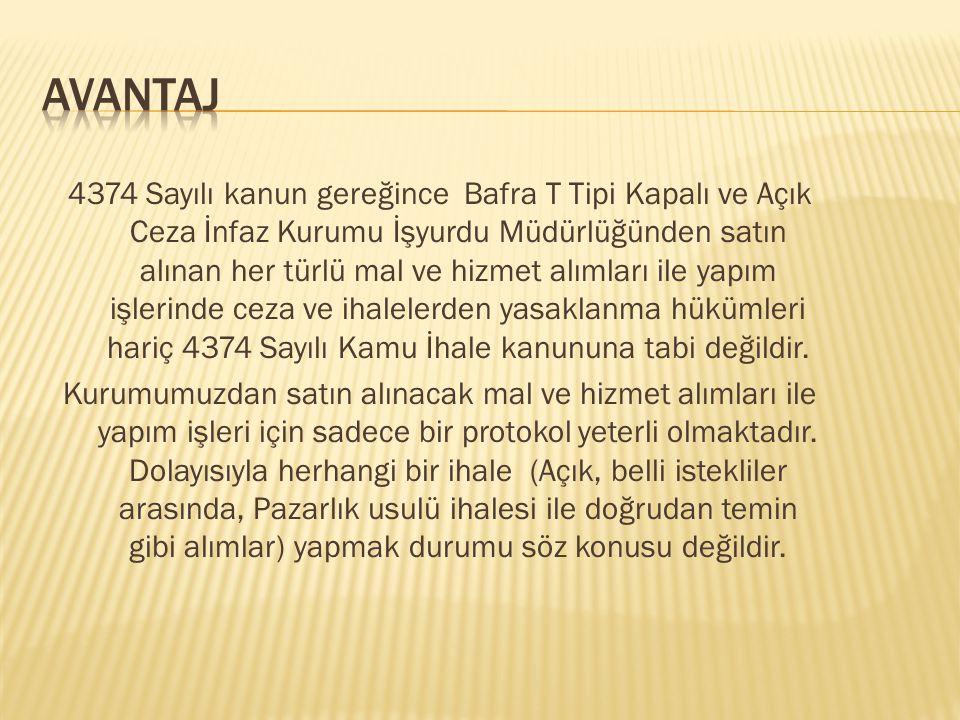 4374 Sayılı kanun gereğince Bafra T Tipi Kapalı ve Açık Ceza İnfaz Kurumu İşyurdu Müdürlüğünden satın alınan her türlü mal ve hizmet alımları ile yapı