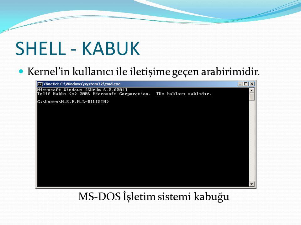 SHELL - KABUK Kernel'in kullanıcı ile iletişime geçen arabirimidir. MS-DOS İşletim sistemi kabuğu